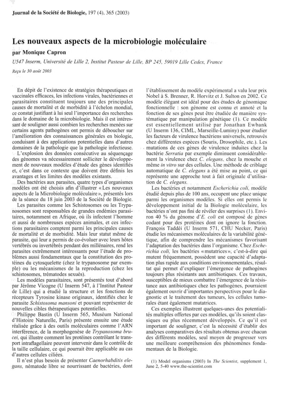 Les Nouveaux Aspects De La Microbiologie Moléculaire Biologie